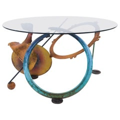 Sculptural Painted Iron and Glass Center Table