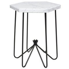French Modern Sculptural Metal & Marble Hexagonal Side Table