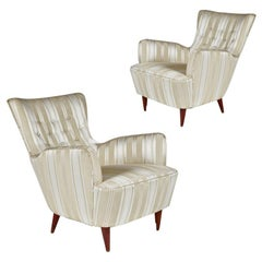 Sculptural Pair of 1950s Midcentury Italian Paolo Buffa Attr. Arm Lounge Chairs