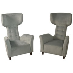 Sculptural Pair of Armchairs Attributed Franco Campi & Carlo Graffi Italy, 1950