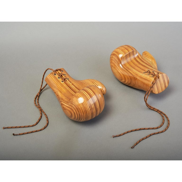 Mid-Century Modern Sculptural Pair of Boxing Gloves in Polished Laminated Wood For Sale