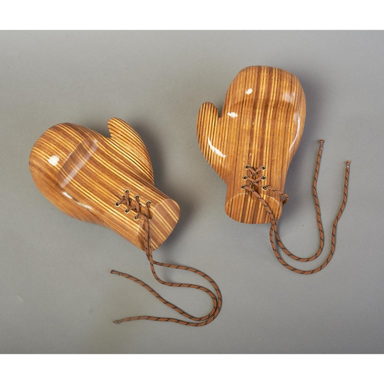 French Sculptural Pair of Boxing Gloves in Polished Laminated Wood For Sale