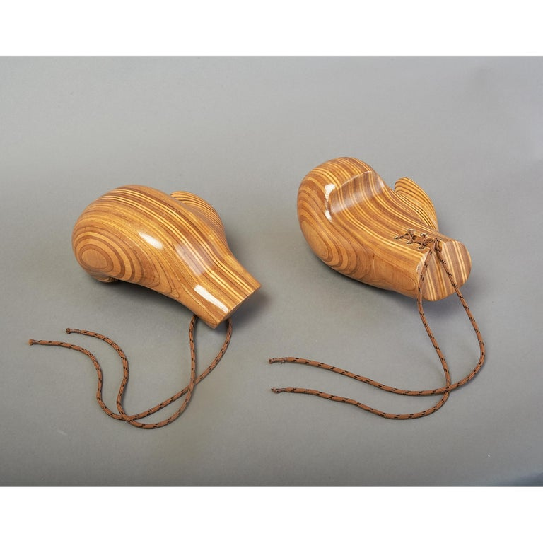 Carved Sculptural Pair of Boxing Gloves in Polished Laminated Wood For Sale