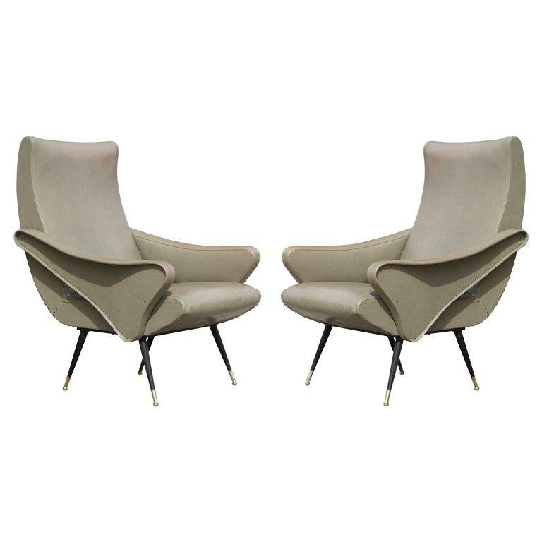 Sculptural Pair of Italian Chairs