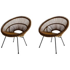 Sculptural Pair of Janine Abraham & Dirk Jan Rol Wicker Lounge Armchairs, 1950s