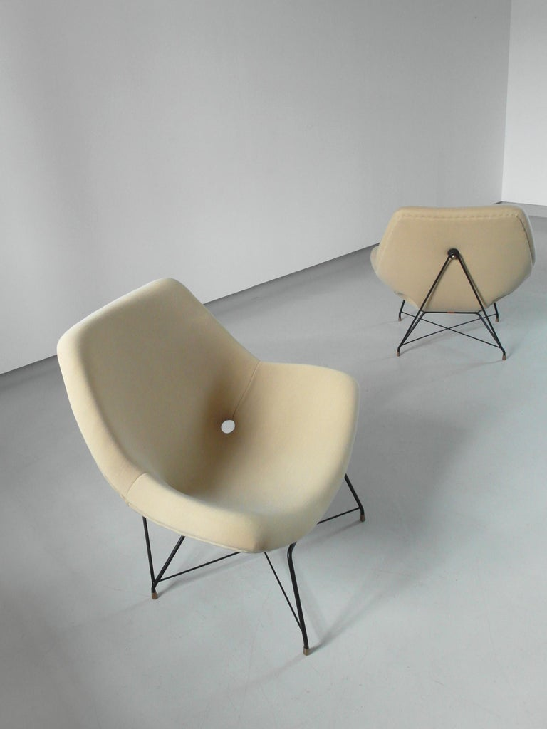 Sculptural Pair of Lounge Chairs by Augusto Bozzi for Saporiti, Italy, 1954 5