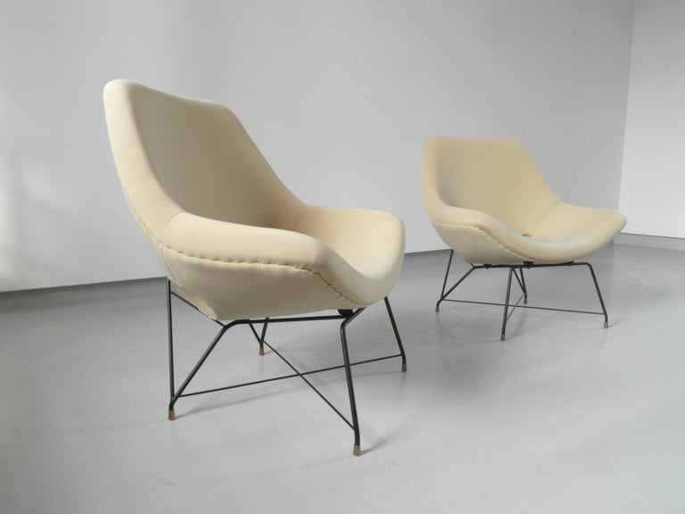 Sculptural Pair of Lounge Chairs by Augusto Bozzi for Saporiti, Italy, 1954 7