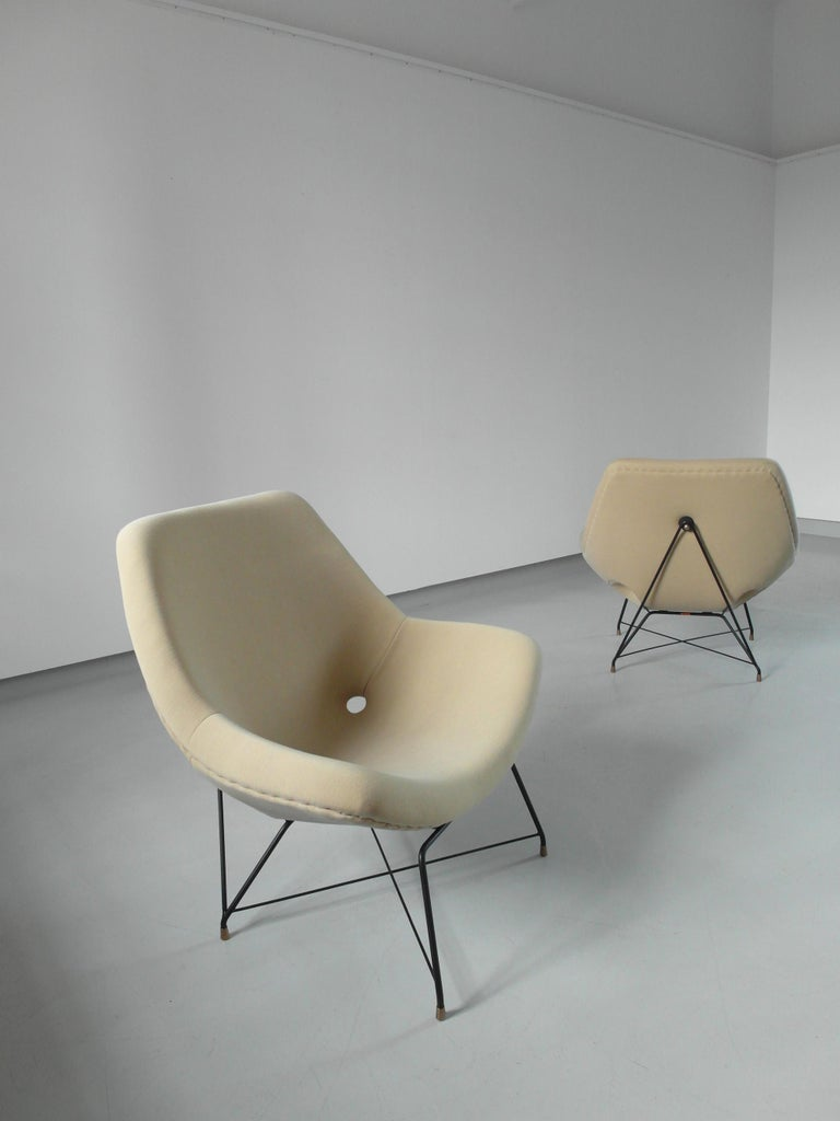 Sculptural Pair of Lounge Chairs by Augusto Bozzi for Saporiti, Italy, 1954 13