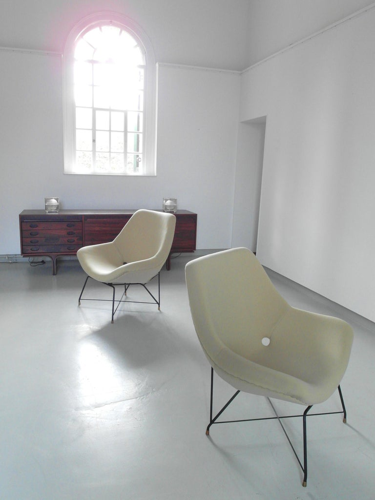 Mid-Century Modern Sculptural Pair of Lounge Chairs by Augusto Bozzi for Saporiti, Italy, 1954