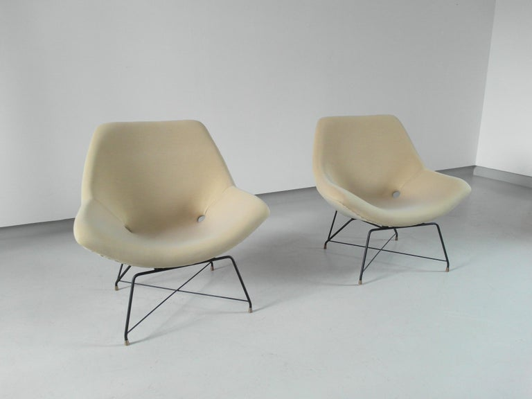 Italian Sculptural Pair of Lounge Chairs by Augusto Bozzi for Saporiti, Italy, 1954