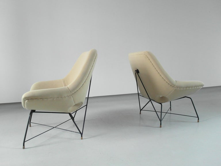 Metal Sculptural Pair of Lounge Chairs by Augusto Bozzi for Saporiti, Italy, 1954