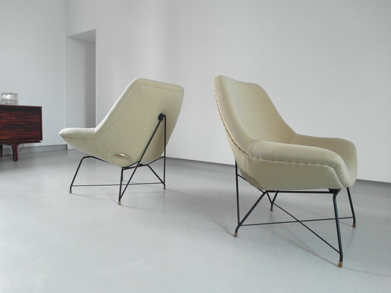Sculptural Pair of Lounge Chairs by Augusto Bozzi for Saporiti, Italy, 1954 1