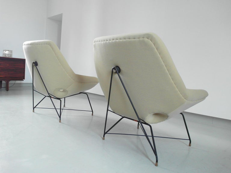 Sculptural Pair of Lounge Chairs by Augusto Bozzi for Saporiti, Italy, 1954 2