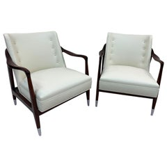 Gio Ponti Style Sculptural Pair of Mid Century Lounge Chairs and Ottoman