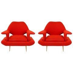Sculptural Pair of Orange Midcentury Italian Lounge Chairs
