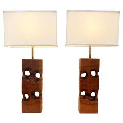 Sculptural Pair of Rectangular Table Lamps by Brian Willsher Carved in Wood