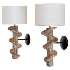 Sculptural Pair of Spiral Screw Wall Lamps in Hardwood, Belgium, 19th Century