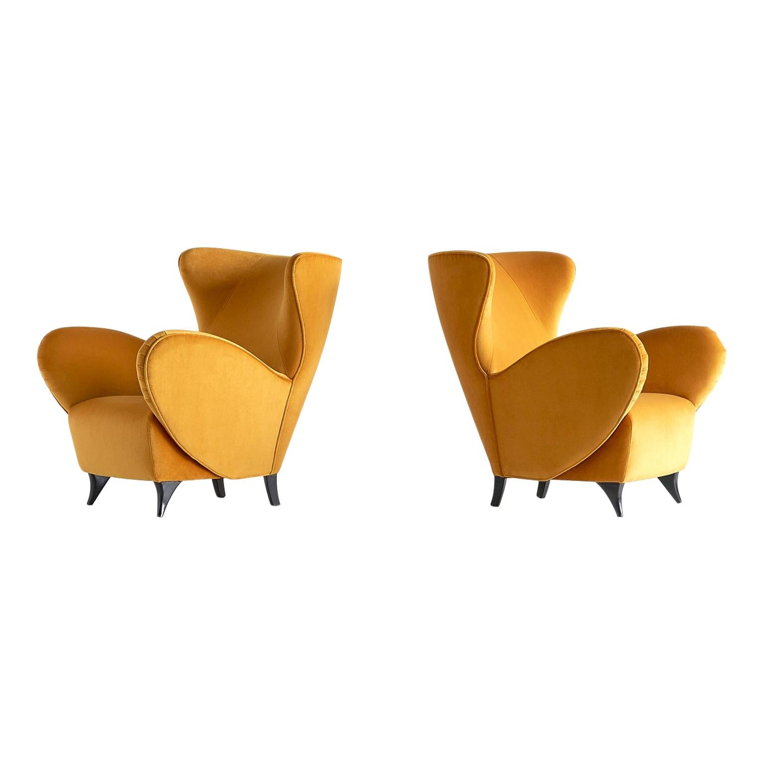 Sculptural Pair of Turin School Wingback Armchairs in Gold Velvet, Italy, 1940s