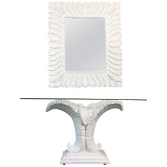 Sculptural Palm Leaf Console Table and Mirror After Serge Roche & Dorothy Draper