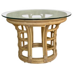 Sculptural Palm Regency Oval Rattan and Glass Side End Table