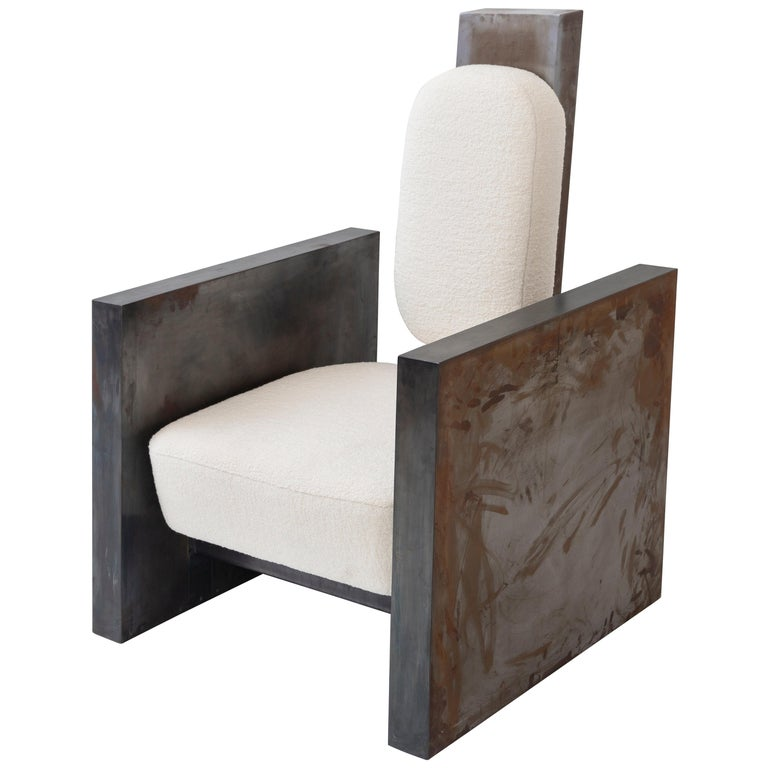 Sculptural Patinated Metal Armchair by Rooms For Sale