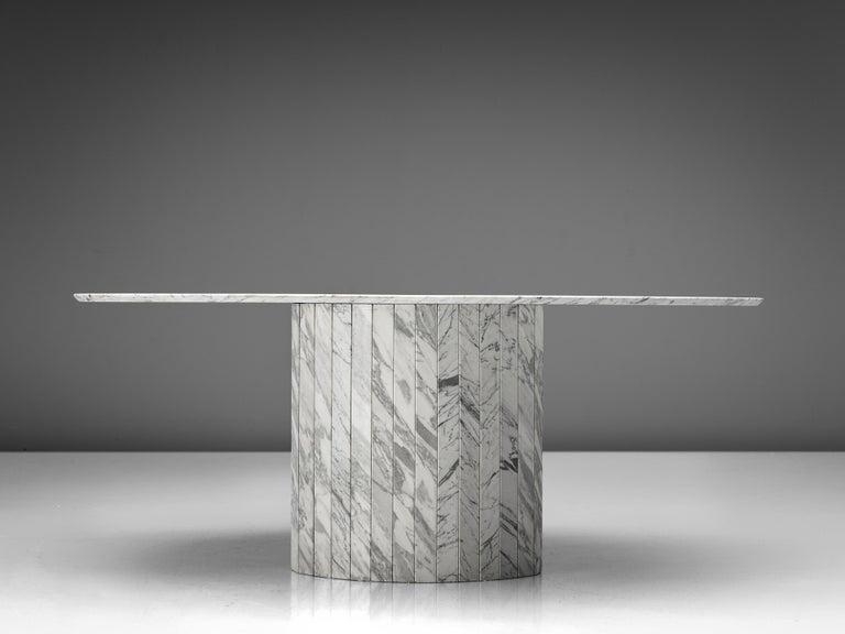 German Sculptural Pedestal Table in Marble For Sale
