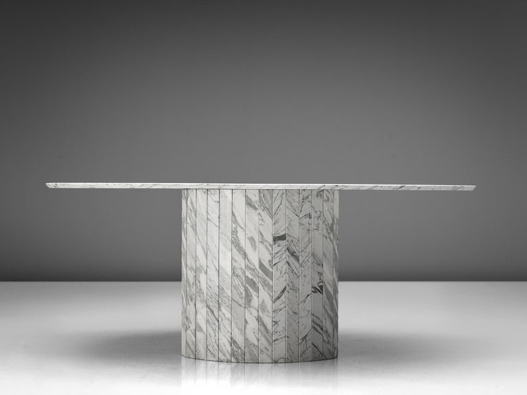 German Sculptural Pedestal Table with Oval Top in Marble For Sale