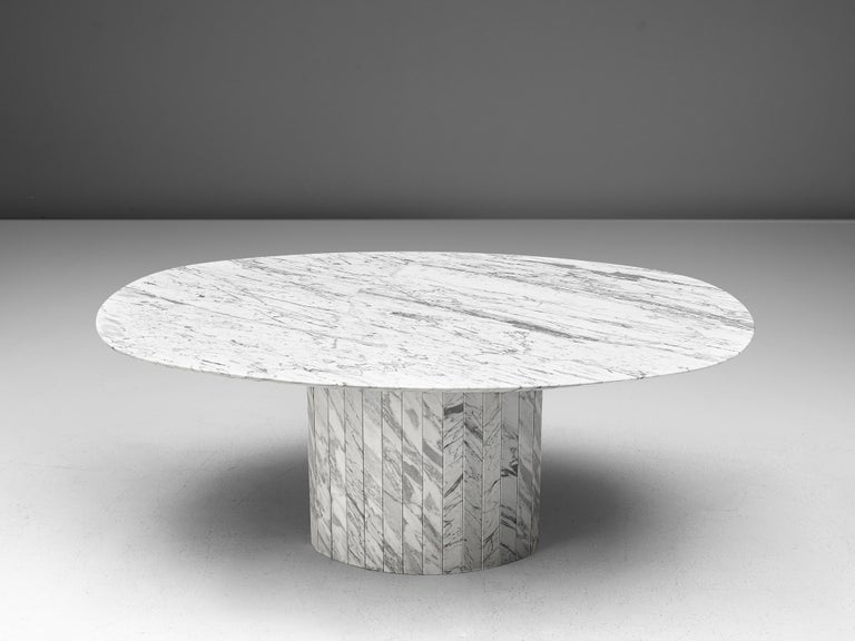 Late 20th Century Sculptural Pedestal Table with Oval Top in Marble For Sale