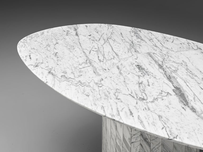 Carrara Marble Sculptural Pedestal Table with Oval Top in Marble For Sale
