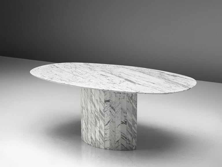 Sculptural Pedestal Table with Oval Top in Marble For Sale 1