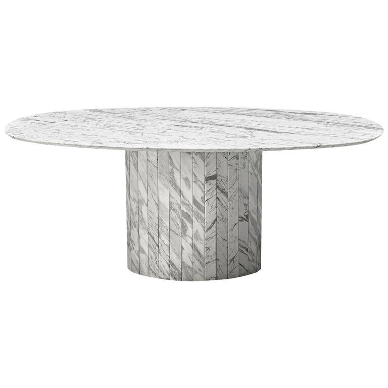 Sculptural Pedestal Table with Oval Top in Marble For Sale