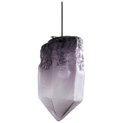 Sculptural Pendant Light in Eggplant Glass by Jeff Zimmerman, 2016