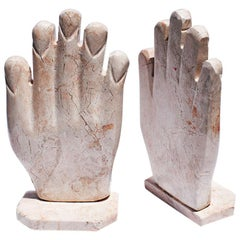 Sculptural Pink Marble Stone Hand Bookends, a Pair