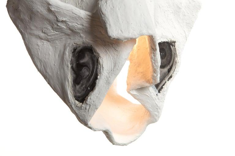 White Plaster Sculptural Pendant Chandelier, 21st Century by Mattia Biagi For Sale 5