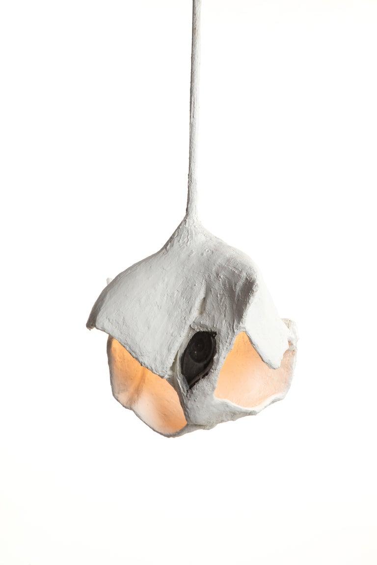 White Plaster Sculptural Pendant Chandelier, 21st Century by Mattia Biagi For Sale 2