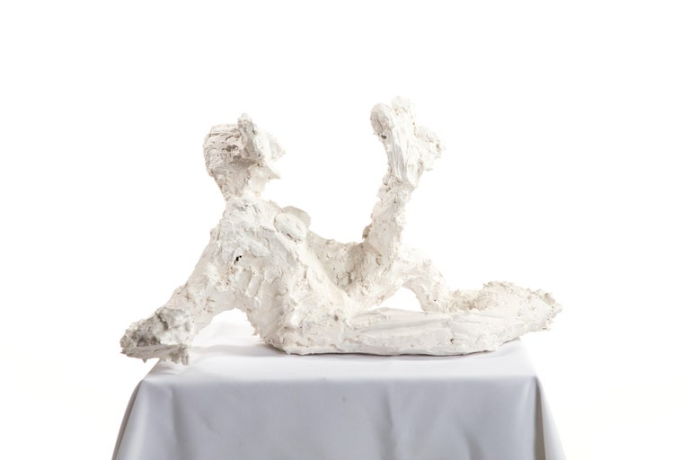 American White Plaster Sculpture Woman Figure, 21st Century by Mattia Biagi
