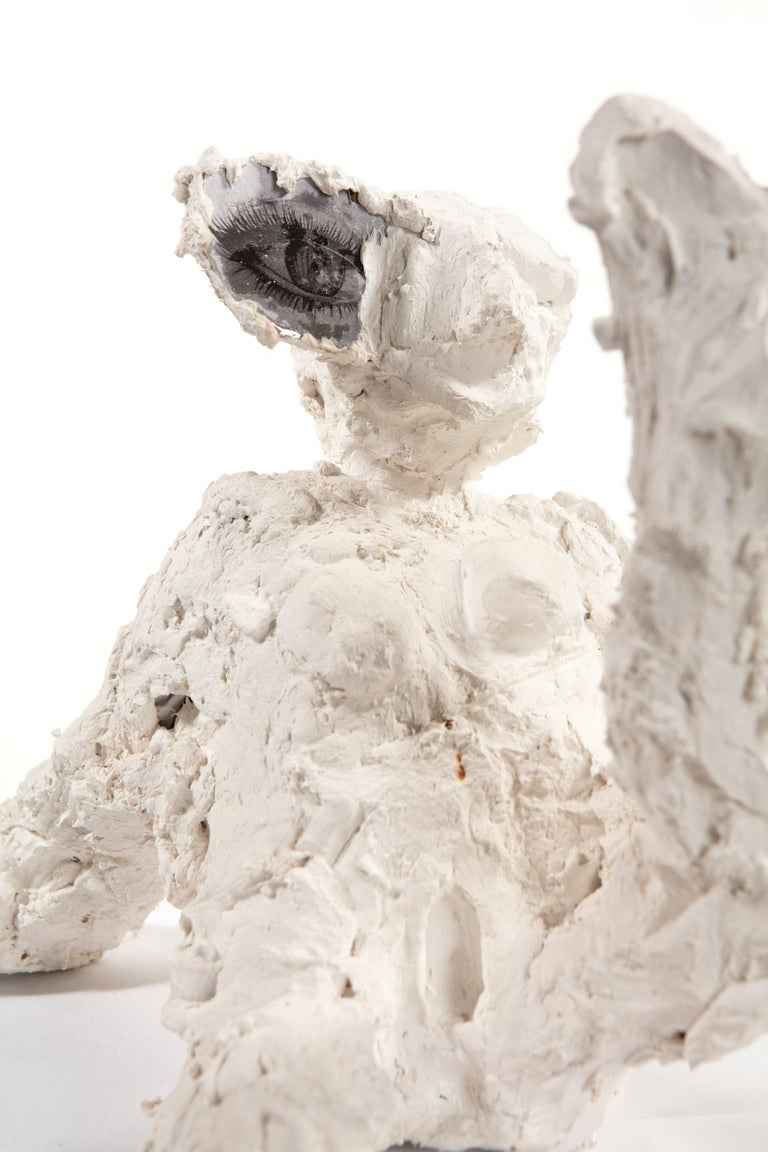 Hand-Crafted White Plaster Sculpture Woman Figure, 21st Century by Mattia Biagi
