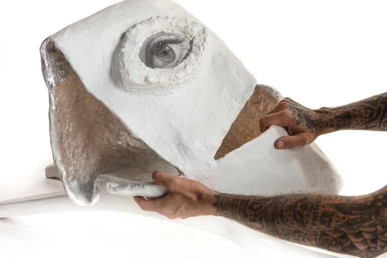 Hand-Crafted White and Silver Sculptural Plaster Floor Lamp, 21st Century by Mattia Biagi For Sale