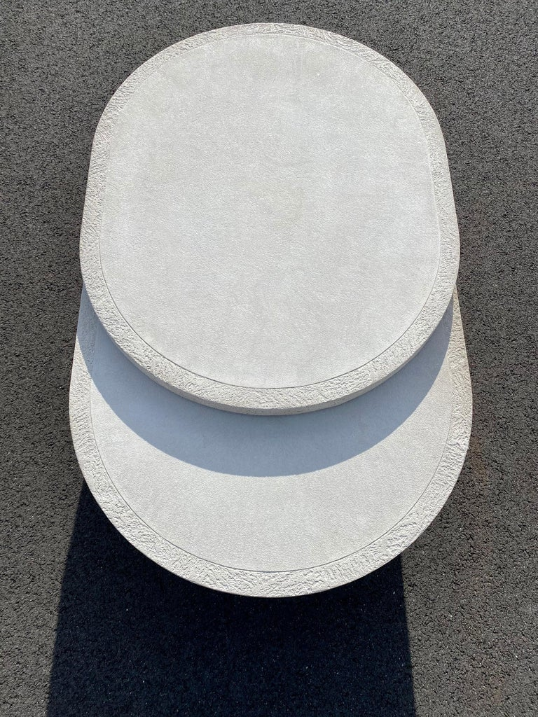 Sculptural Plaster Swiveling Oval Two-Tier Coffee Table, Mid-Century Modern 1970 For Sale 6