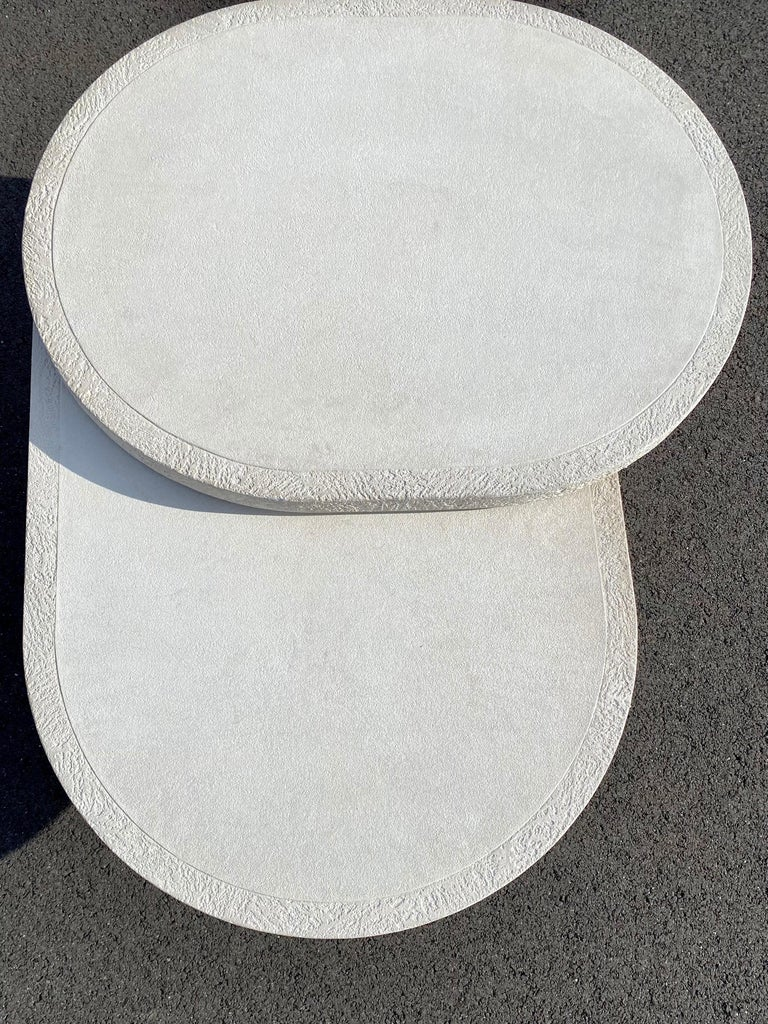Sculptural Plaster Swiveling Oval Two-Tier Coffee Table, Mid-Century Modern 1970 For Sale 7