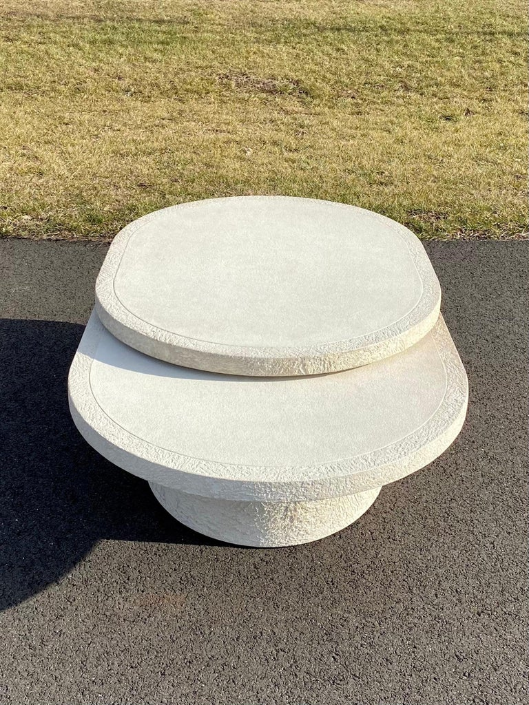 Sculptural Plaster Swiveling Oval Two-Tier Coffee Table, Mid-Century Modern 1970 For Sale 8