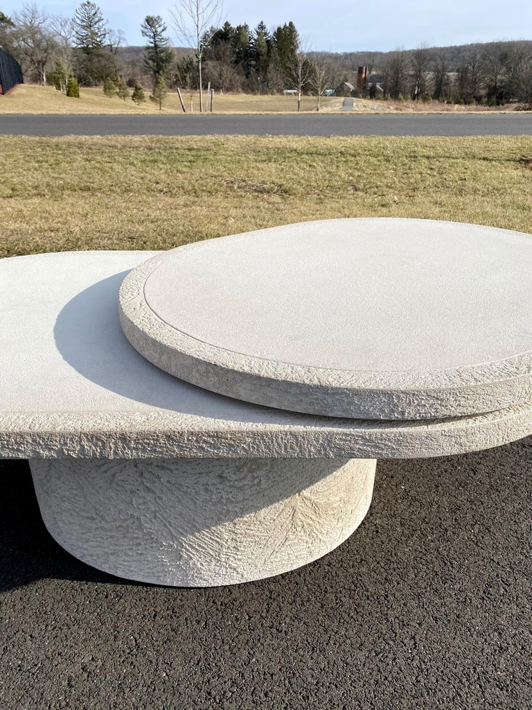 Sculptural Plaster Swiveling Oval Two-Tier Coffee Table, Mid-Century Modern 1970 For Sale 10