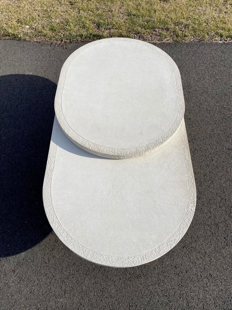 Sculptural Plaster Swiveling Oval Two-Tier Coffee Table, Mid-Century Modern 1970 For Sale 15