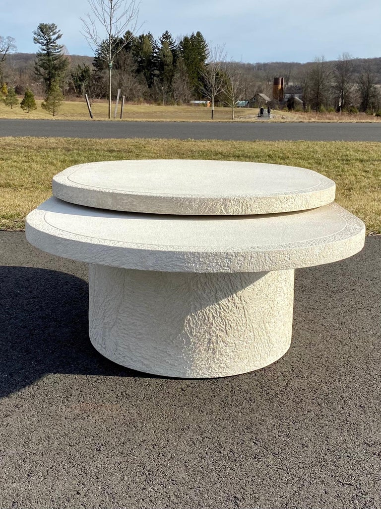 Sculptural Plaster Swiveling Oval Two-Tier Coffee Table, Mid-Century Modern 1970 For Sale 4