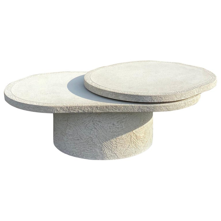 Sculptural Plaster Swiveling Oval Two-Tier Coffee Table, Mid-Century Modern 1970 For Sale