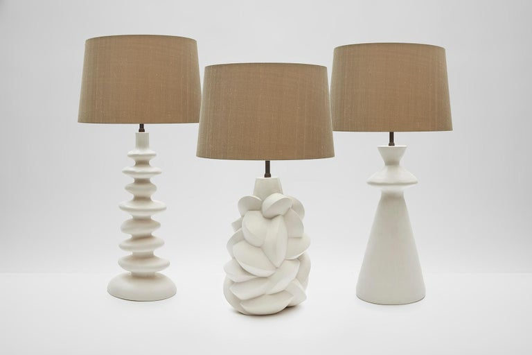 Hand-Crafted Sculptural Plaster Table Lamp Hand Made in UK Contemporary 21st Century For Sale