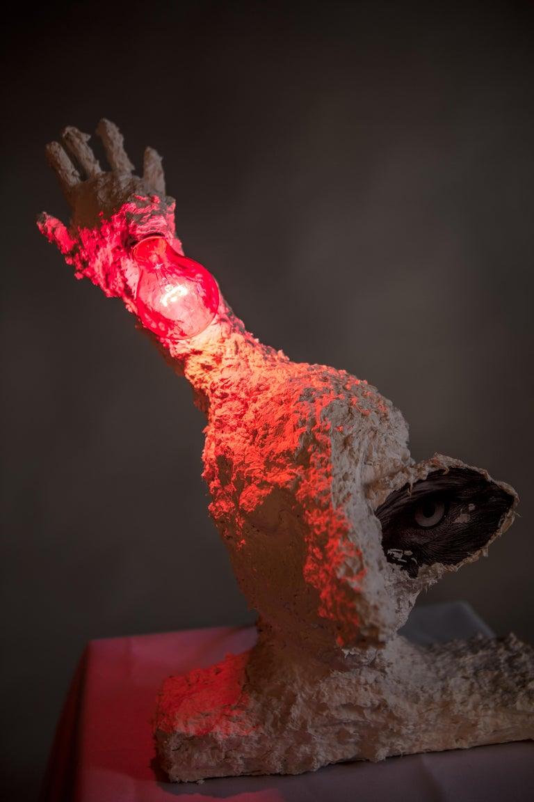 White Plaster Sculptural Table Lamp, 21st Century by Mattia Biagi For Sale 4