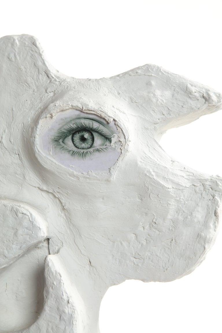White Plaster Sculptural Table Lamp, 21st Century by Mattia Biagi For Sale 8