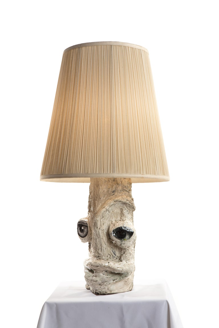 American White Sculptural Plaster Table Lamp, 21st Century by Mattia Biagi For Sale