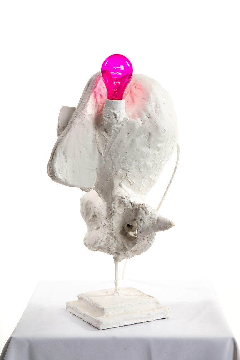 Hand-Crafted White Plaster Sculptural Table Lamp, 21st Century by Mattia Biagi For Sale